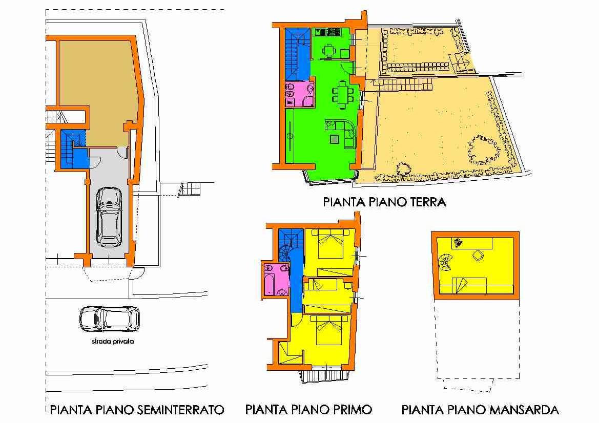 Villetta a schiera in vendita, rif. R/129 (Planimetria 1/3)