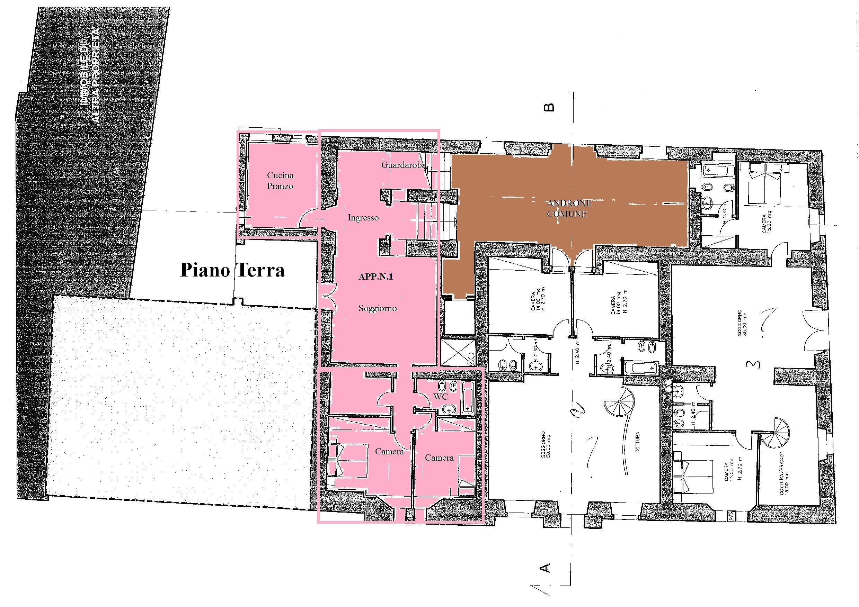 Appartamento in vendita, rif. R/422 (Planimetria 1/2)
