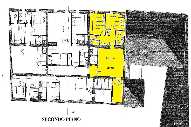 Appartamento in vendita, rif. R/424 (Planimetria 1/2)