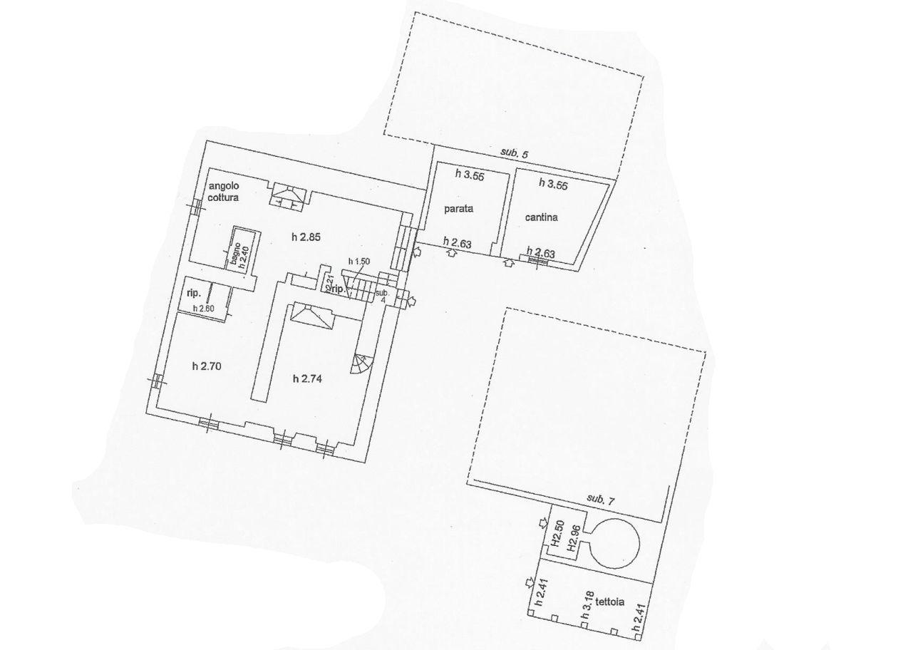 Colonica in vendita, rif. R/555 (Planimetria 1/3)