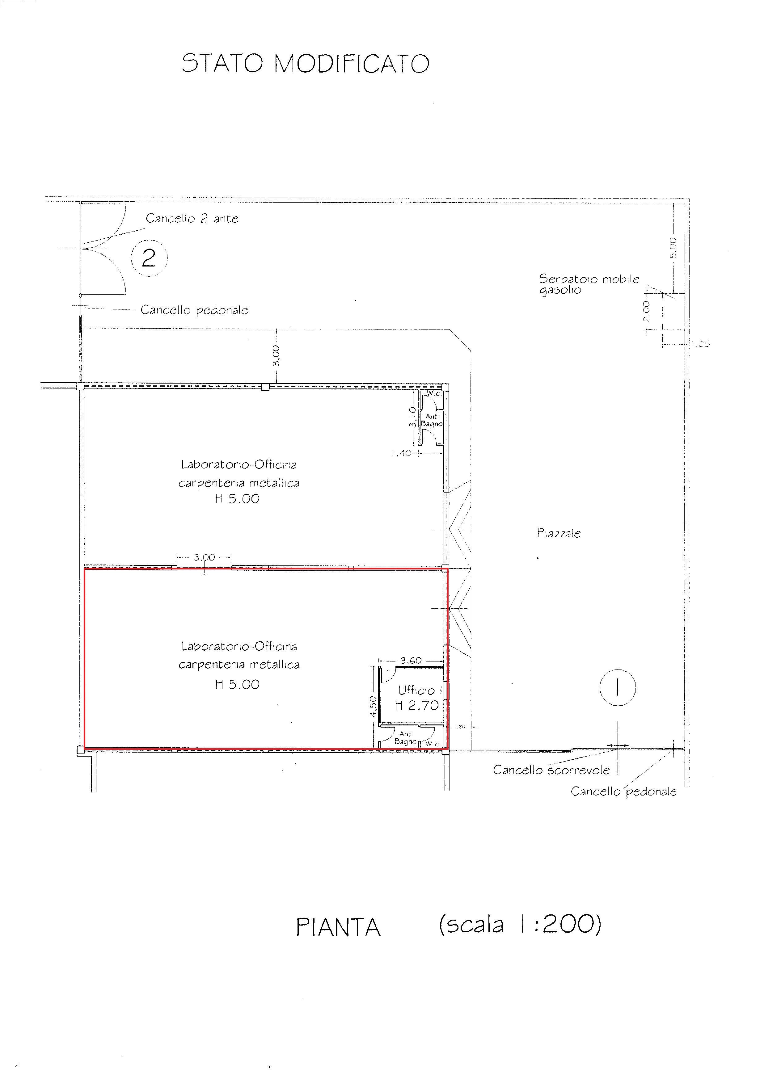 Capannone artigianale in vendita, rif. R/580 (Planimetria 1/1)