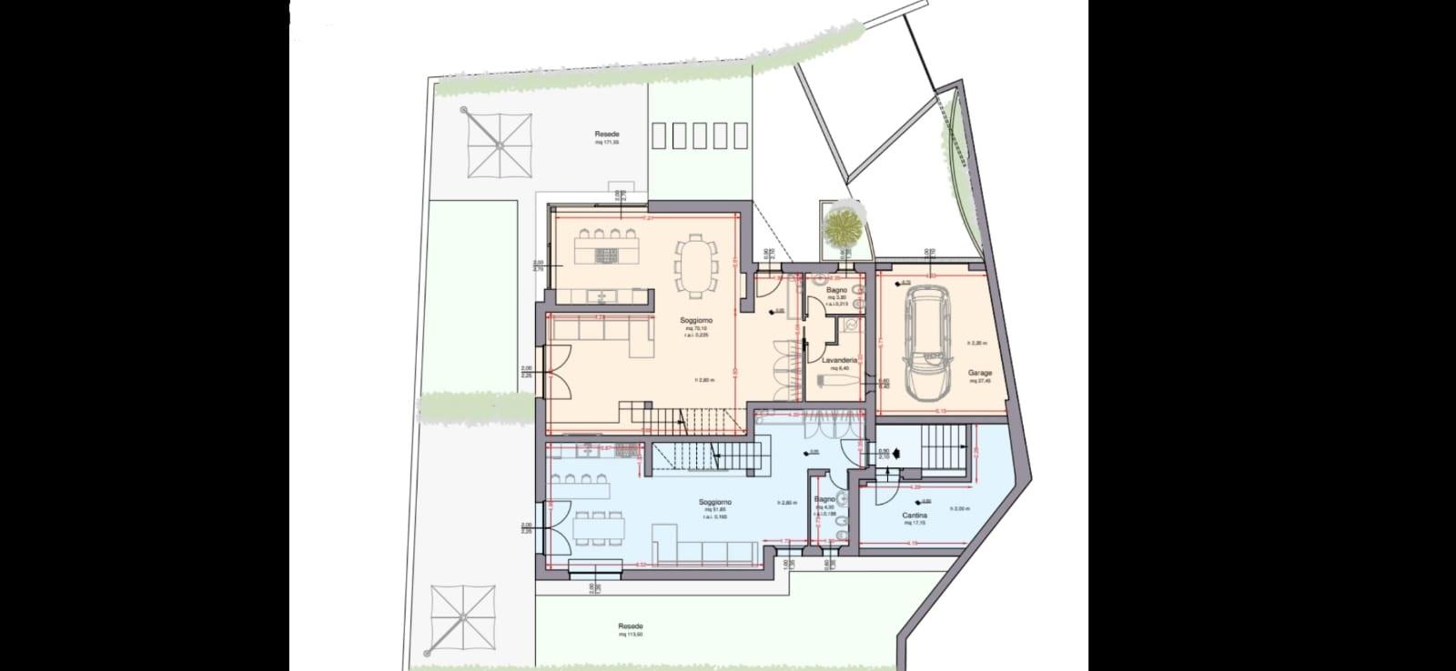 Terratetto in vendita, rif. R/587 (Planimetria 1/2)
