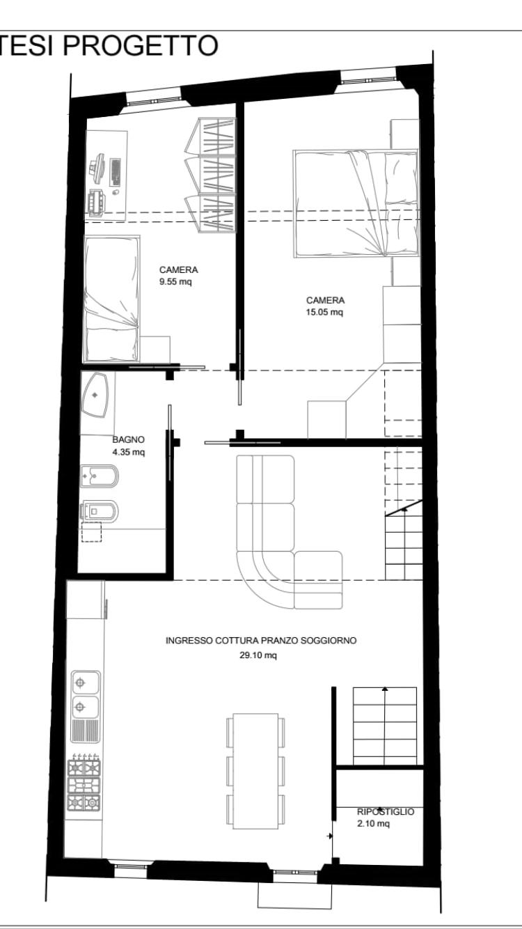 Appartamento in affitto, rif. R/607 (Planimetria 1/2)