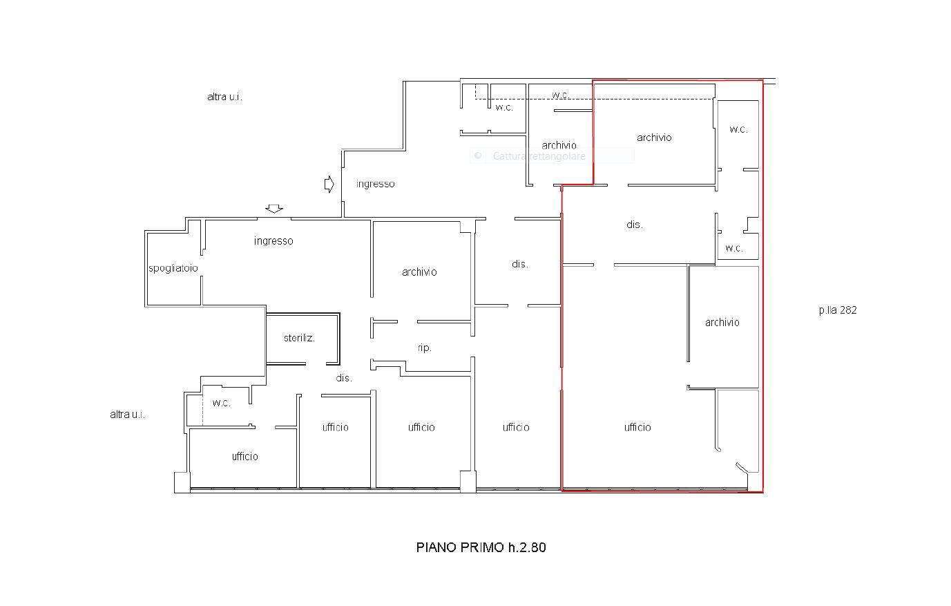 Ufficio in affitto commerciale, rif. C/68 (Planimetria 1/1)