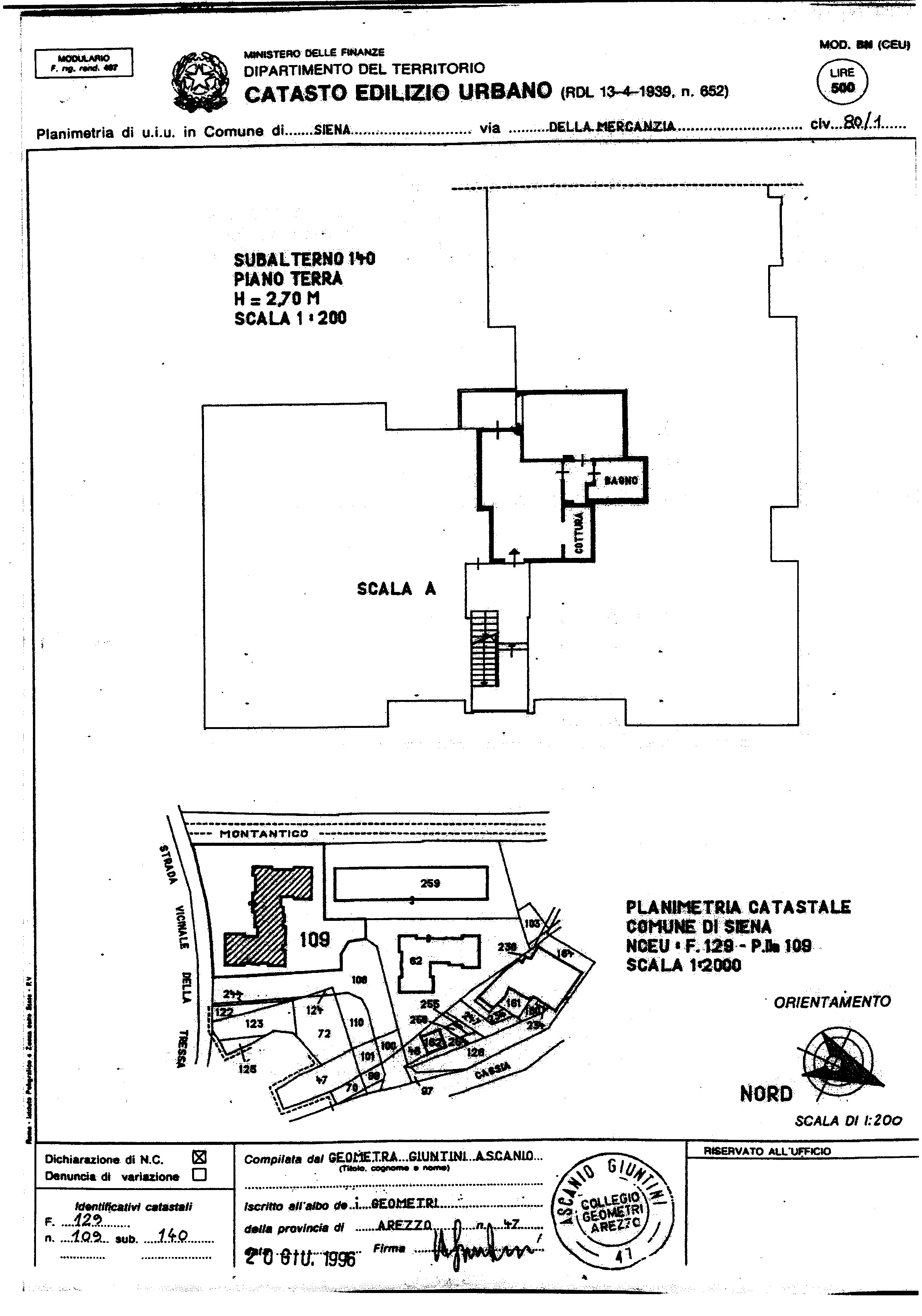Planimetria 1/2 per rif. 829