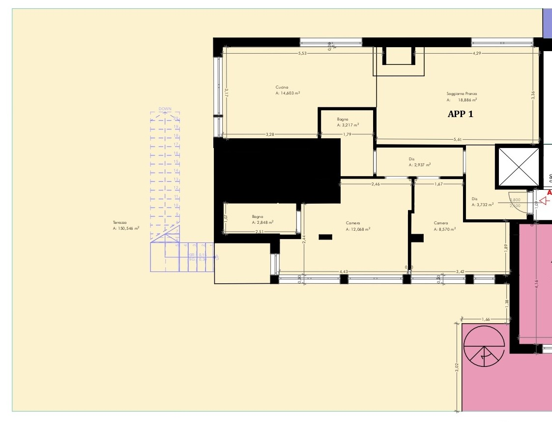 Planimetria 1/2 per rif. cm attico 1/388.000