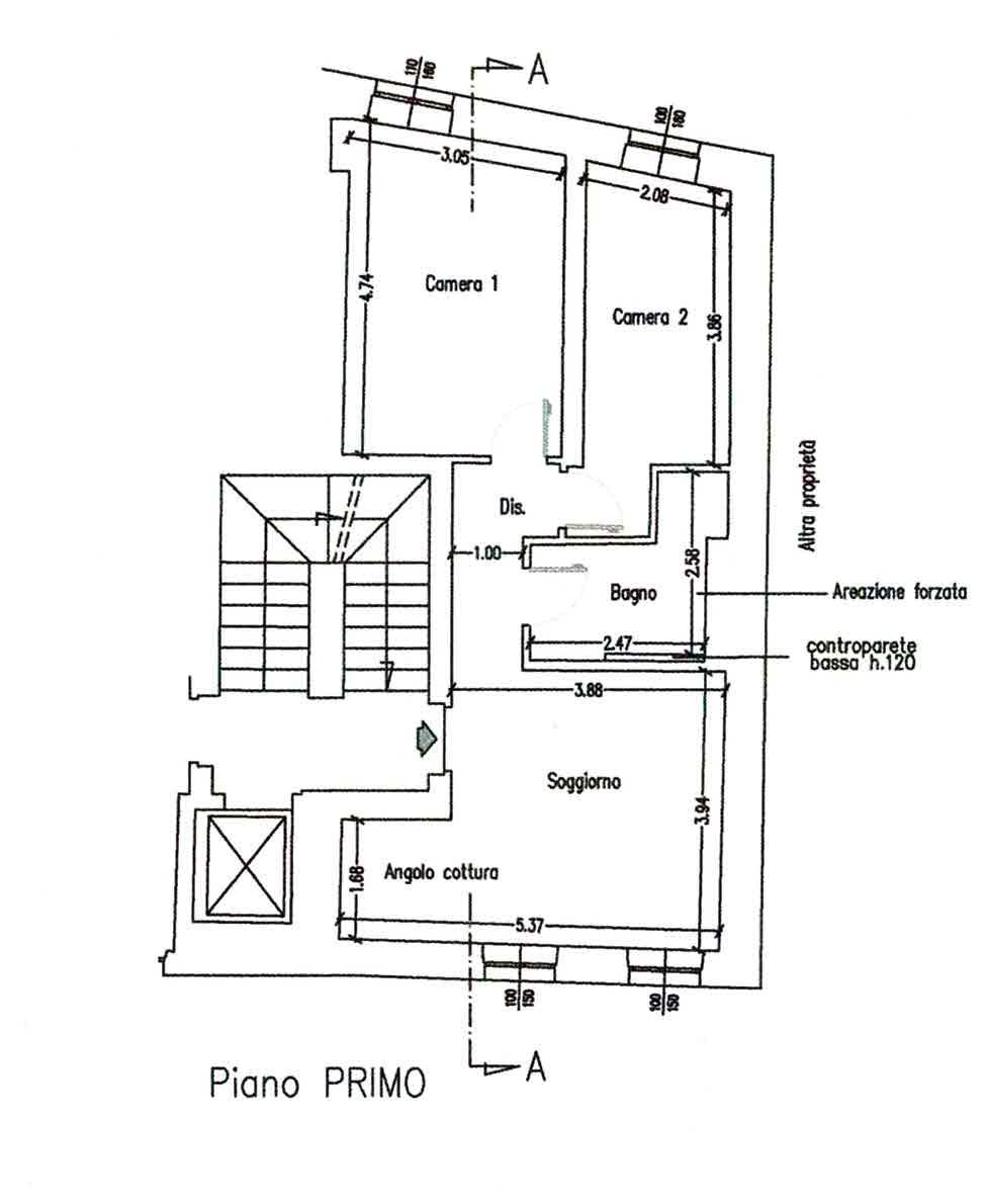 Planimetria 3/4 per rif. 3022