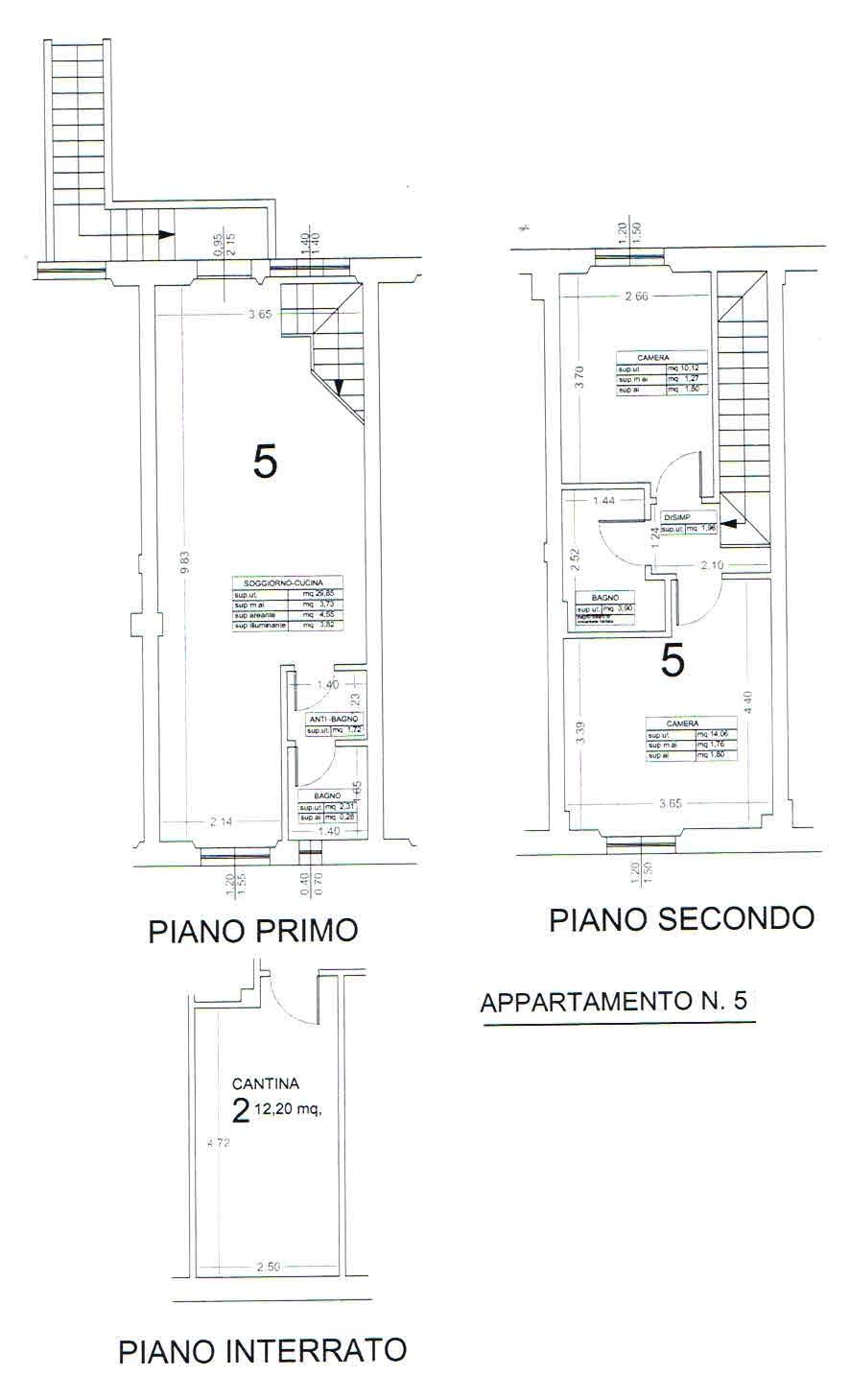 Planimetria 3/5 per rif. 2864