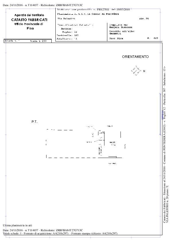 Planimetria 1/1 per rif. 6054/GD