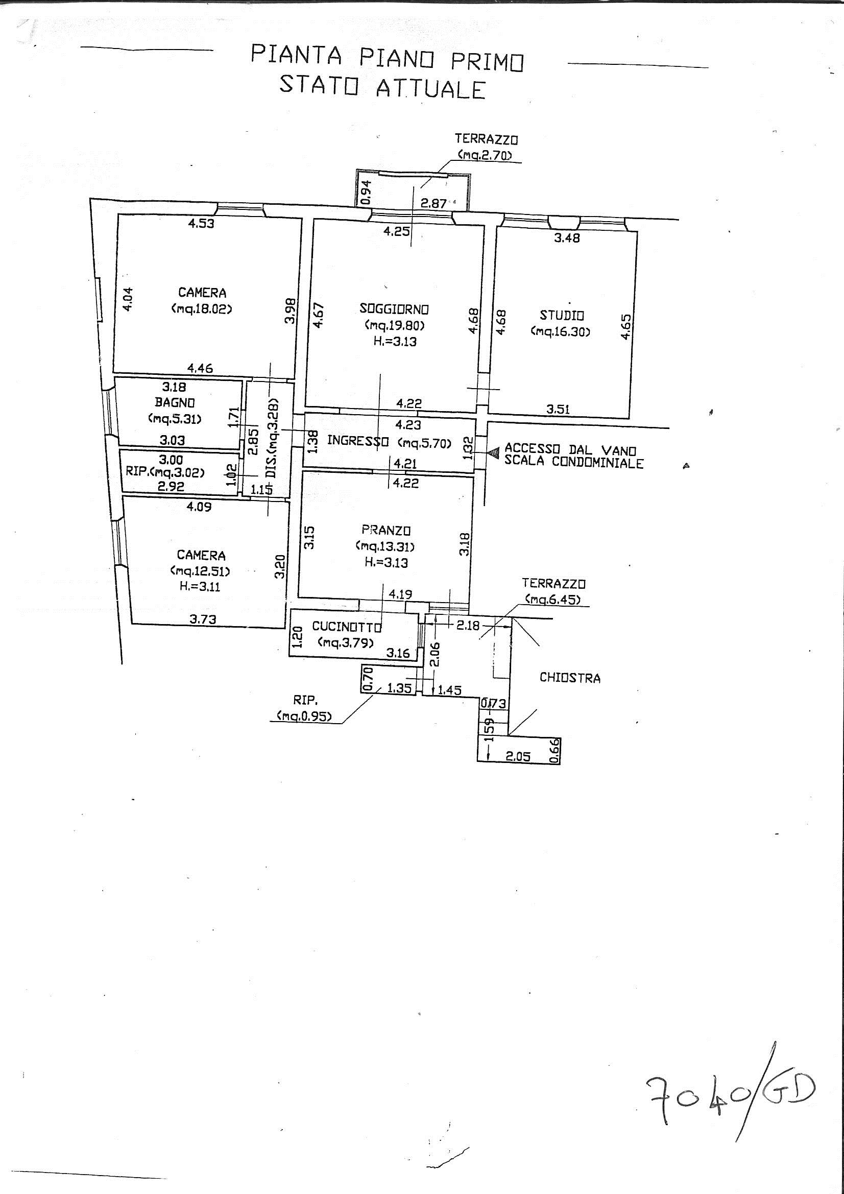 Planimetria 1/1 per rif. 7040/GD