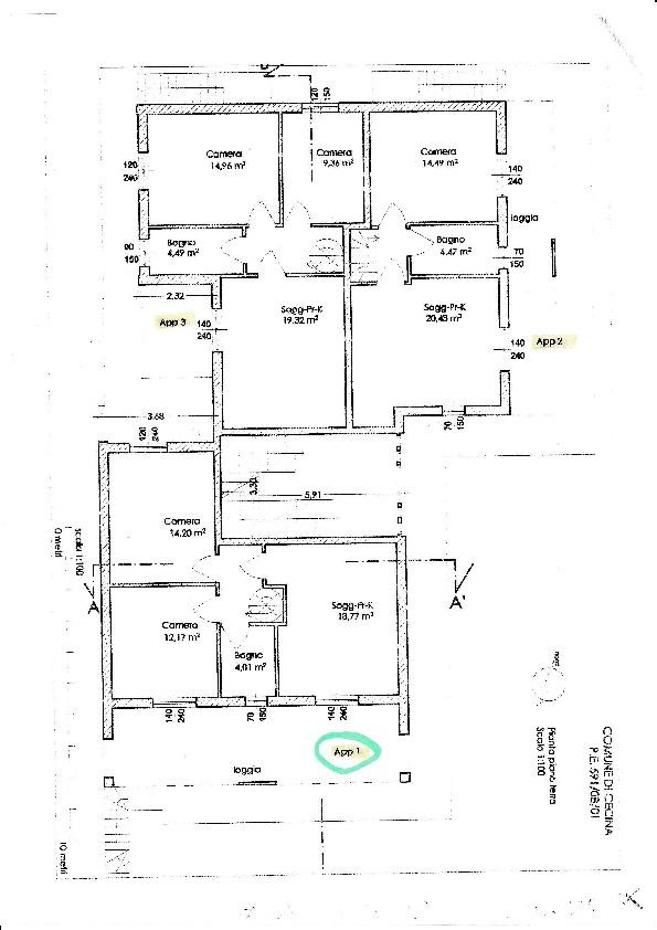Casa semindipendente in vendita, rif. CD/01 (Planimetria 2/3)