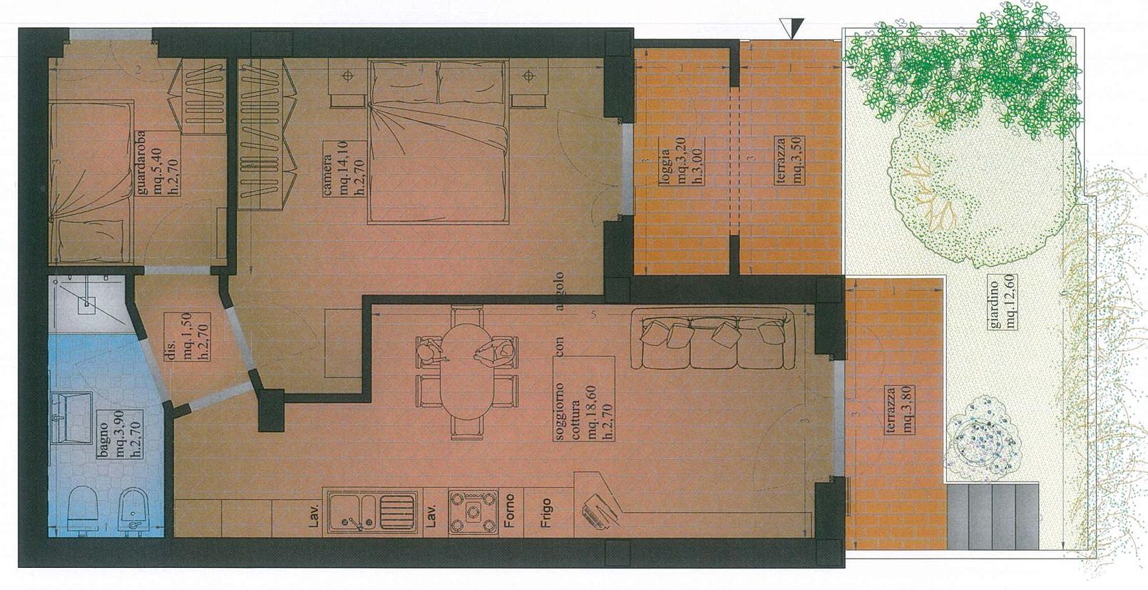 Appartamento in vendita, rif. 02414 (Planimetria 1/3)
