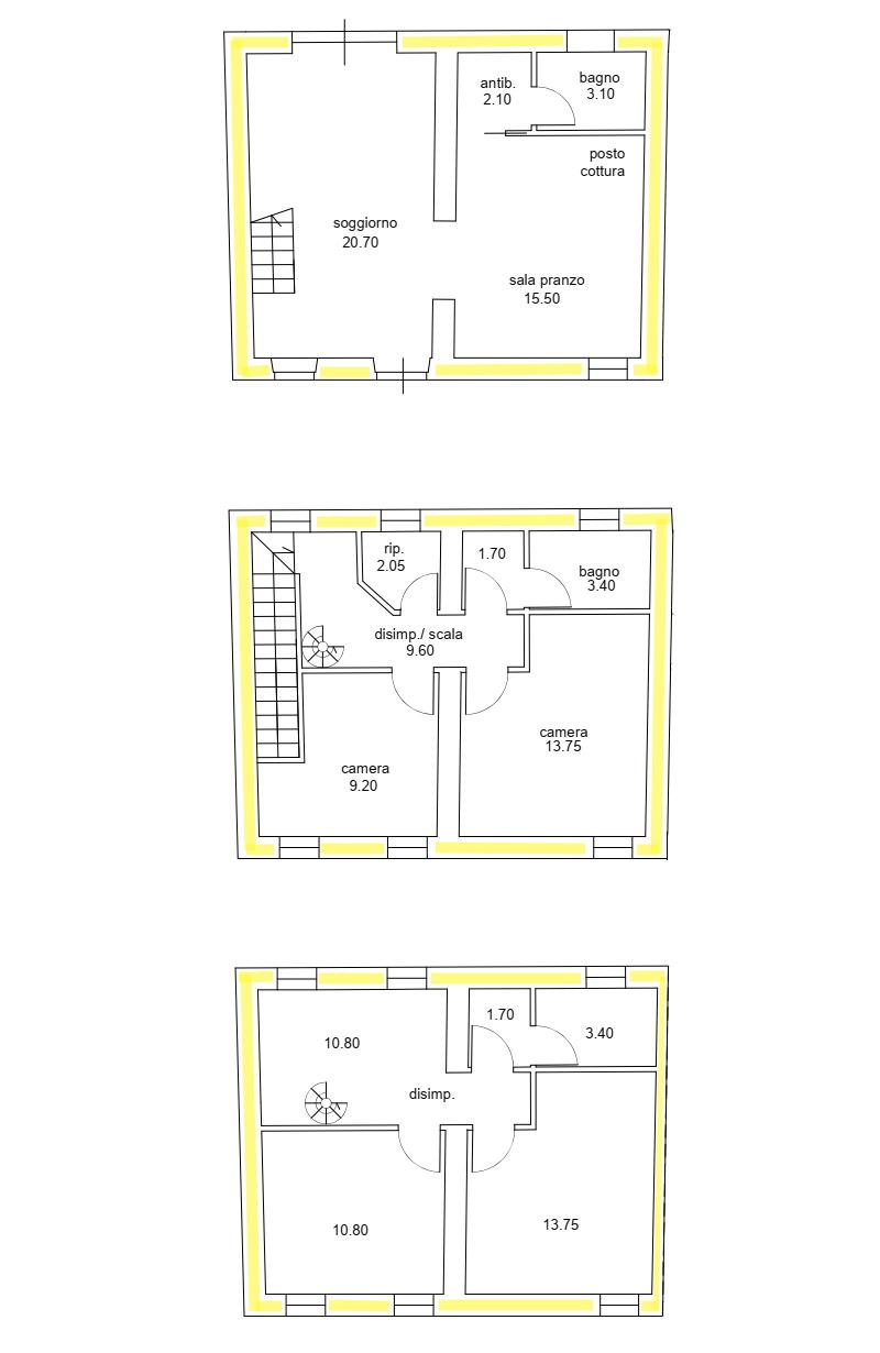 Villetta a schiera angolare in vendita, rif. 02494 (Planimetria 1/1)