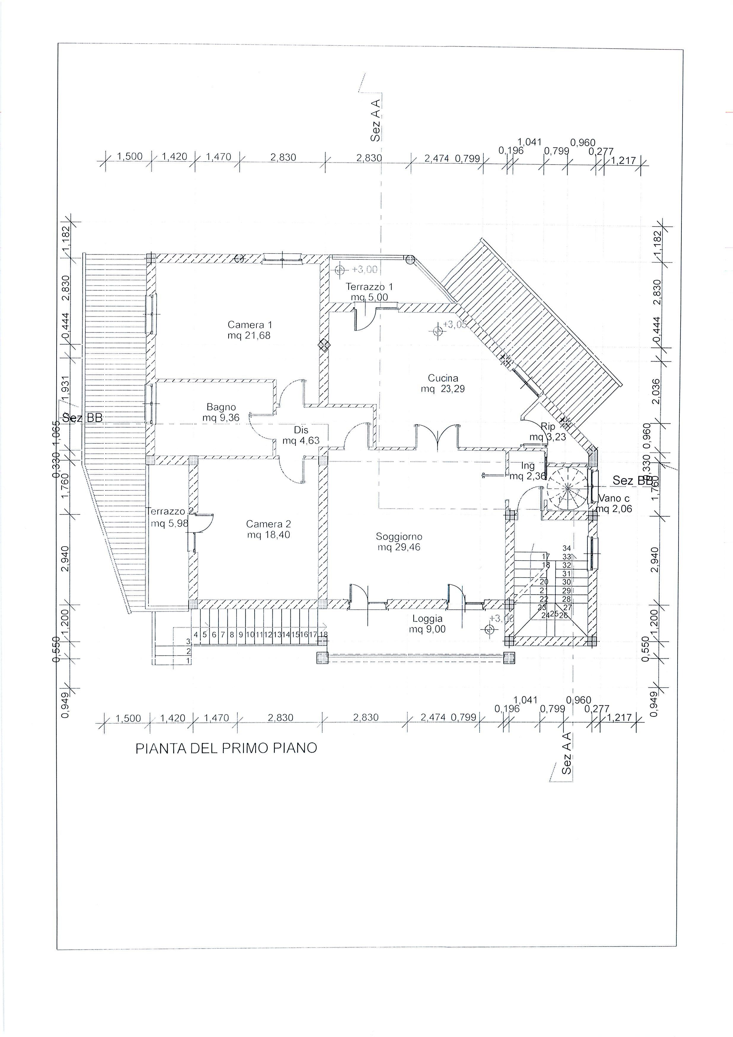 Planimetria 3/4 per rif. 1738a