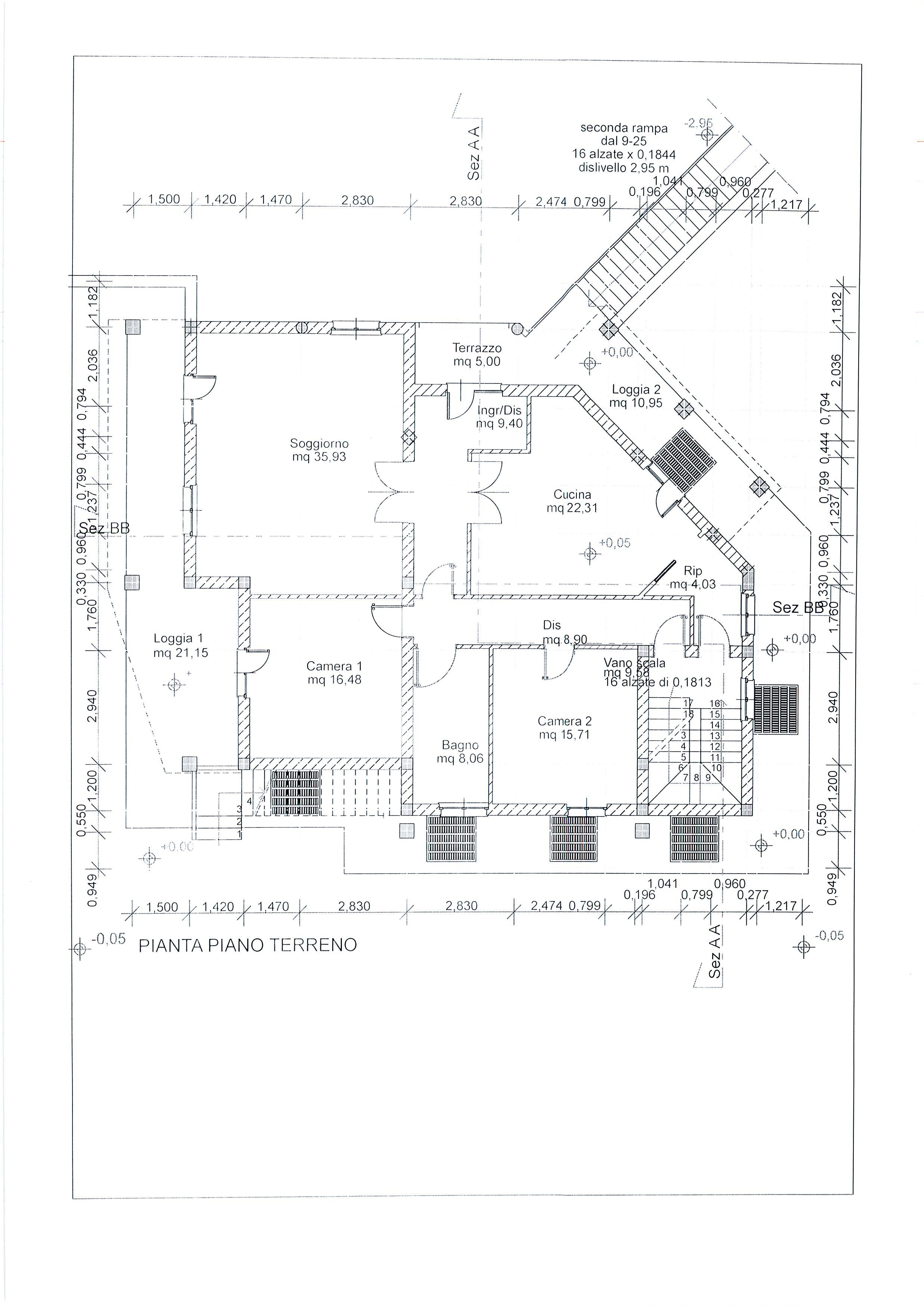 Planimetria 1/4 per rif. 1738a