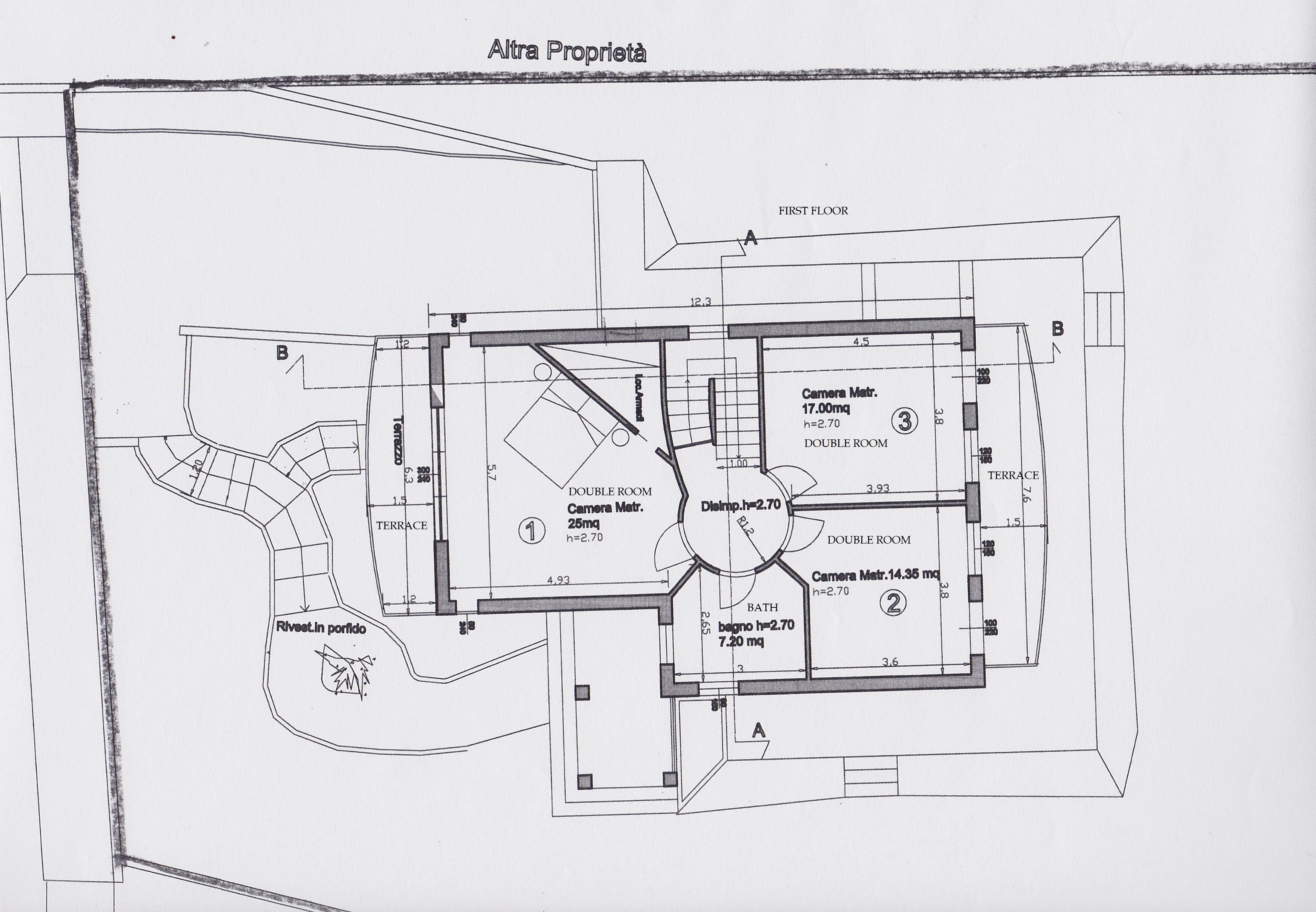Planimetria 1/3 per rif. 2414a