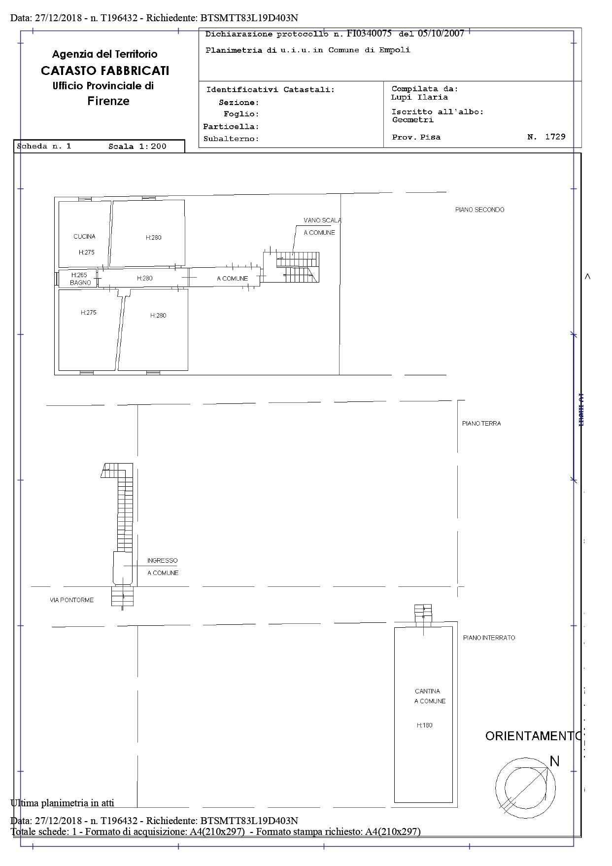 Appartamento in vendita, rif. SA/134 (Planimetria 1/1)
