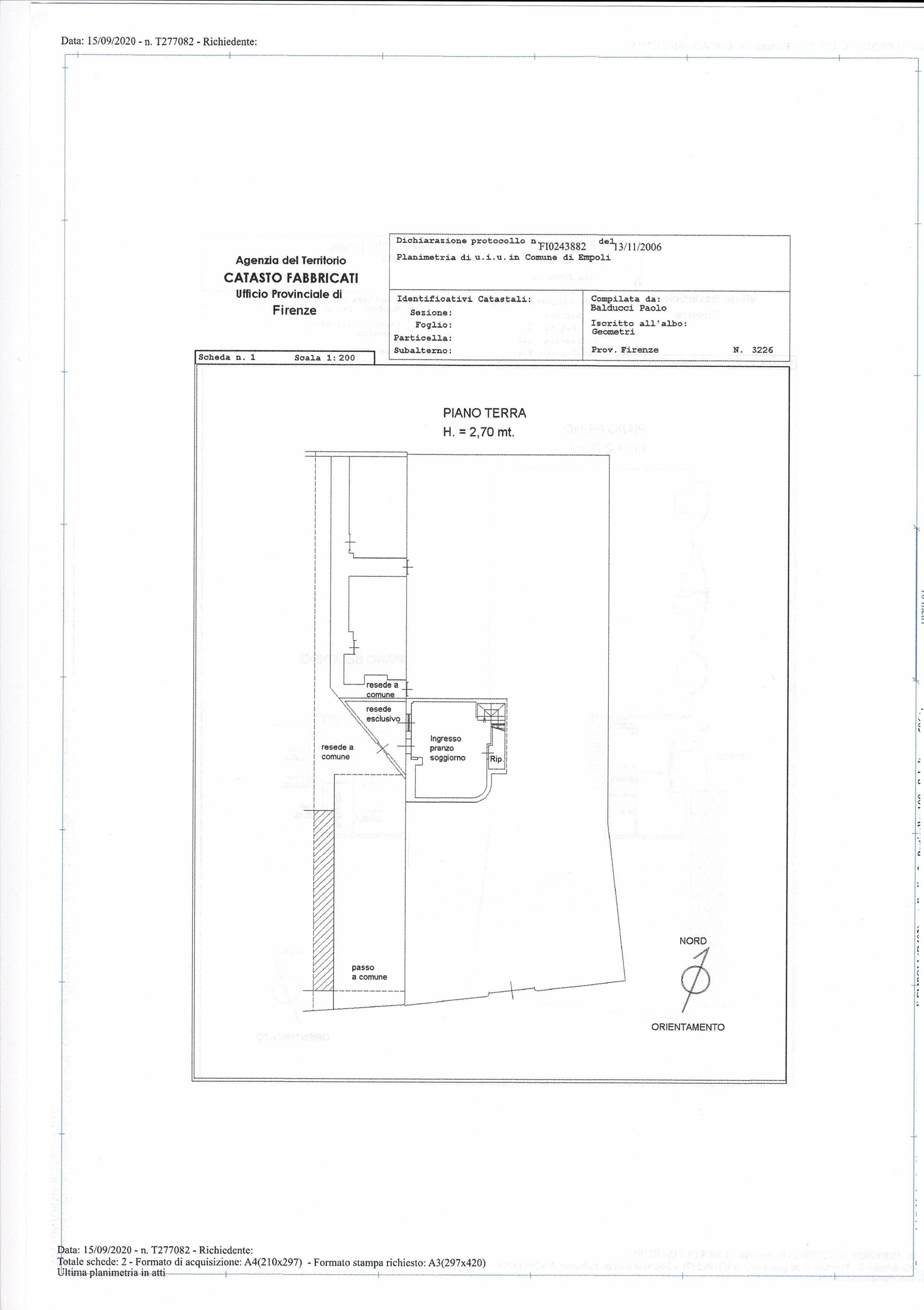 Planimetria 1/3 per rif. SA/176