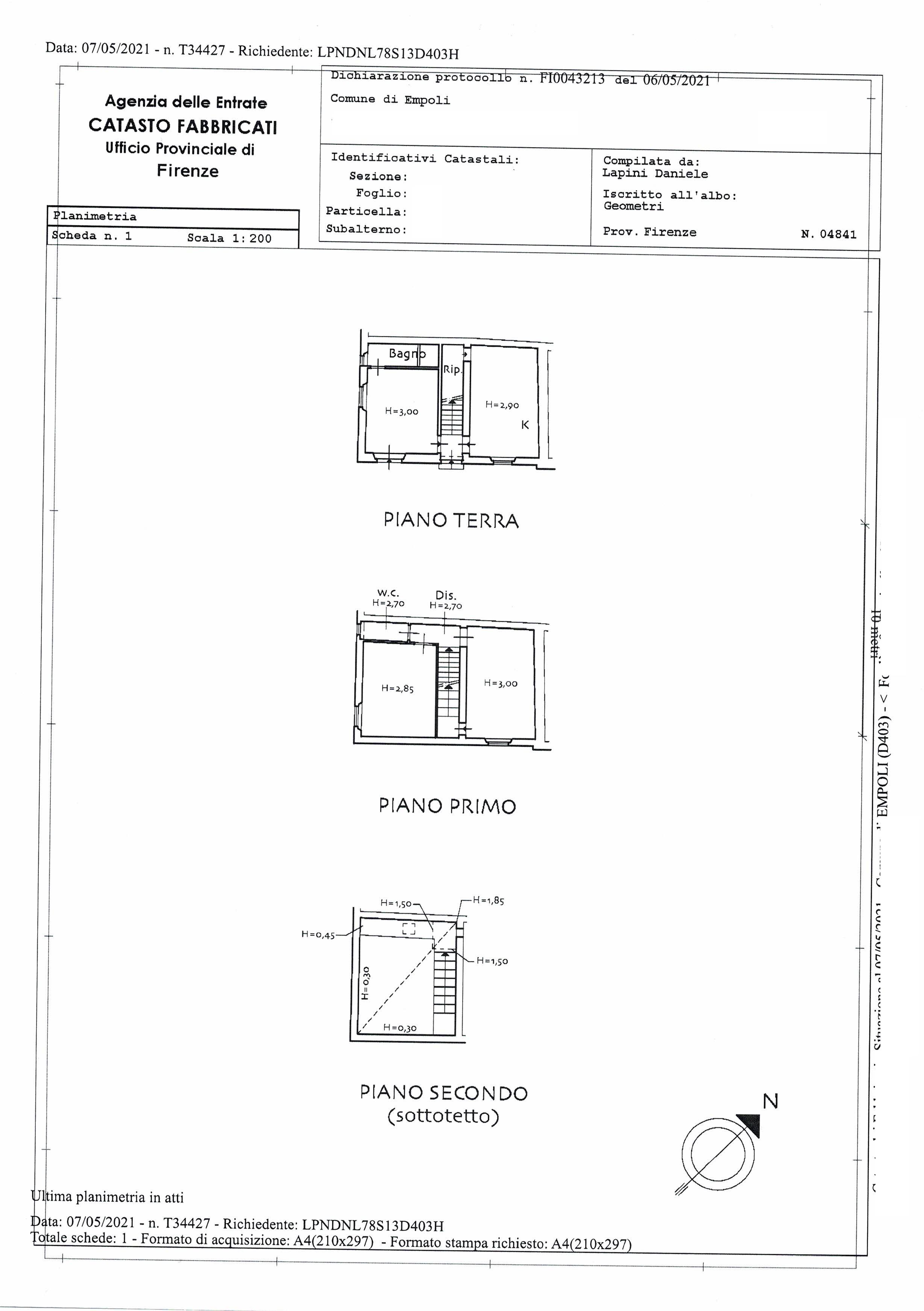 Planimetria 2/2 per rif. SA/192