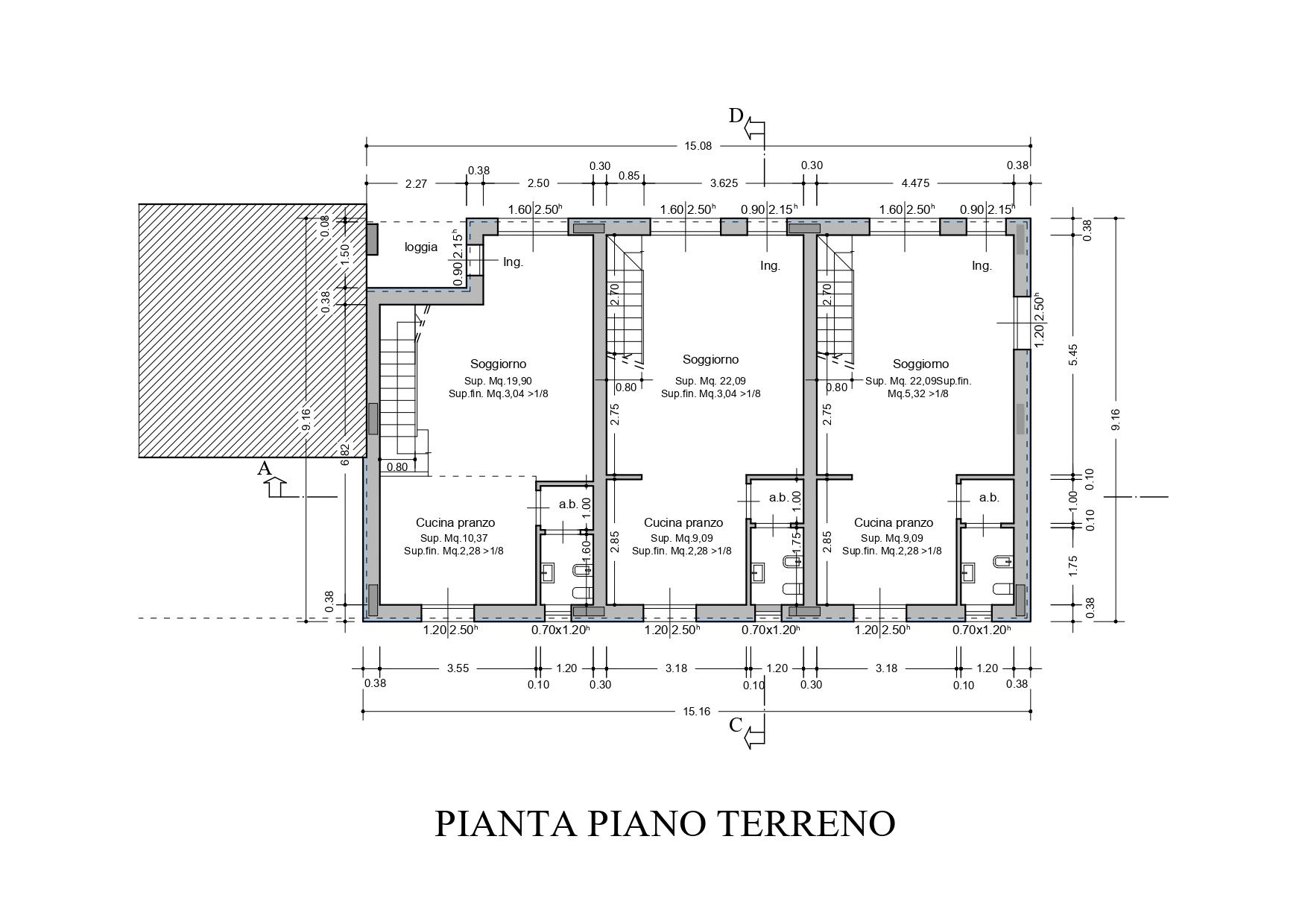 Villetta a schiera in vendita, rif. K133 (Planimetria 1/4)