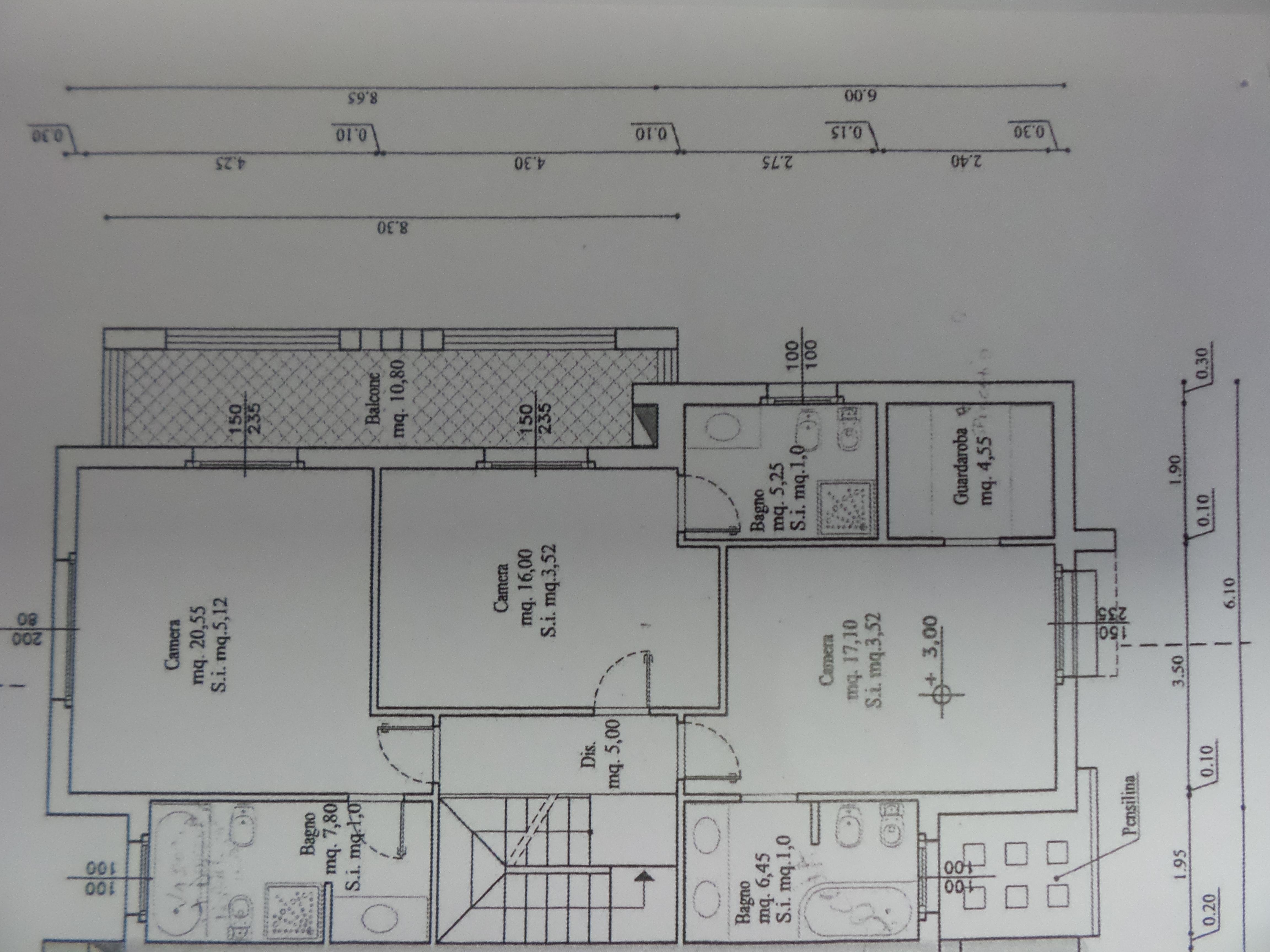 Planimetria 1/4 per rif. P/0111