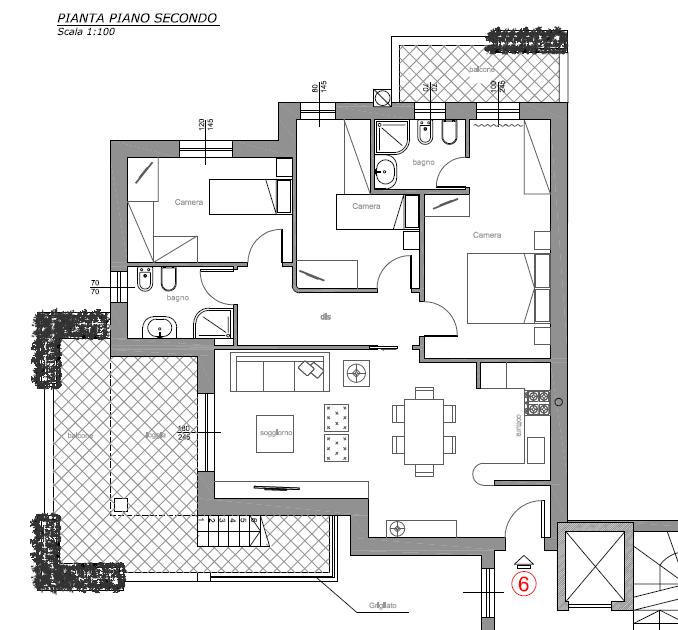 Attico in vendita, rif. F/0405 (Planimetria 1/3)
