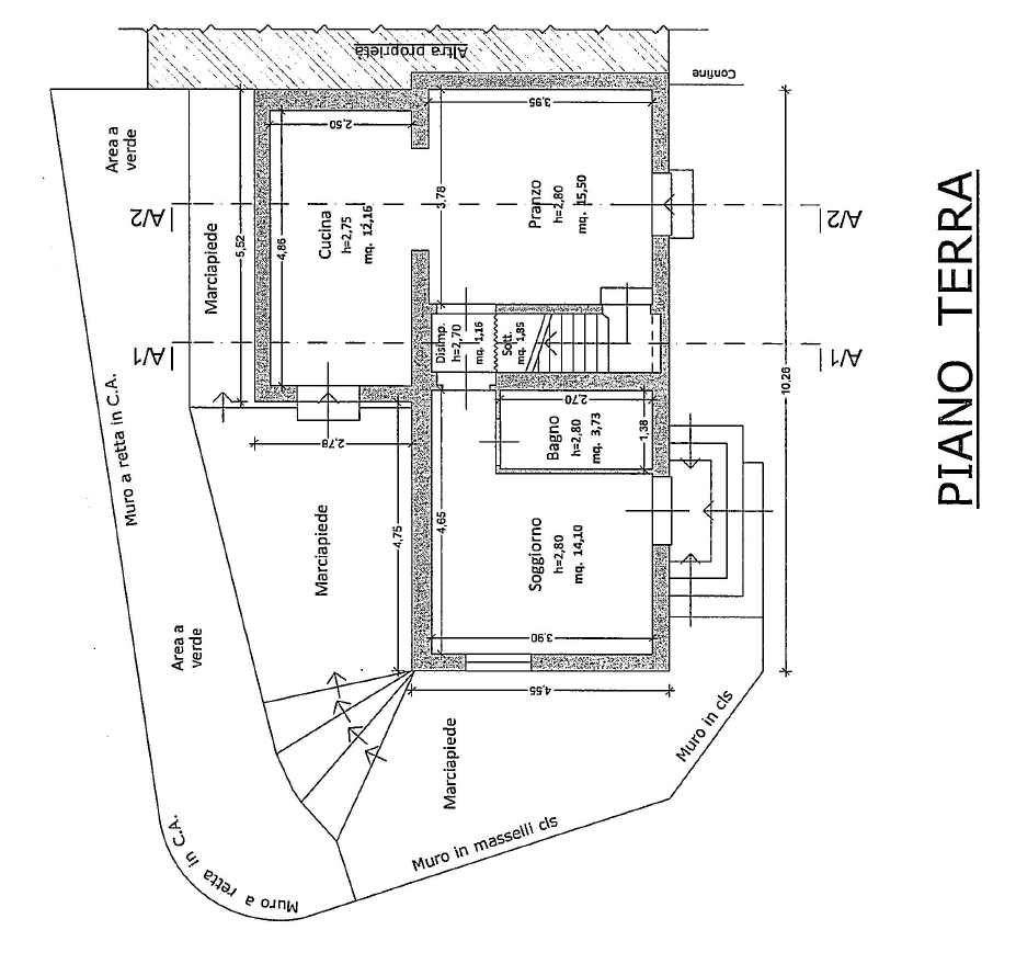 Terratetto in vendita, rif. M/0320 (Planimetria 1/2)