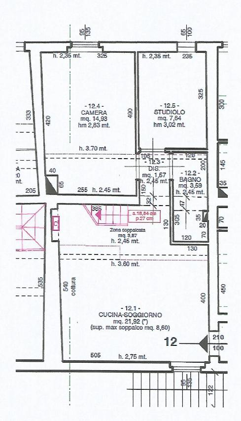 Appartamento in vendita, rif. F/0442 (Planimetria 1/2)