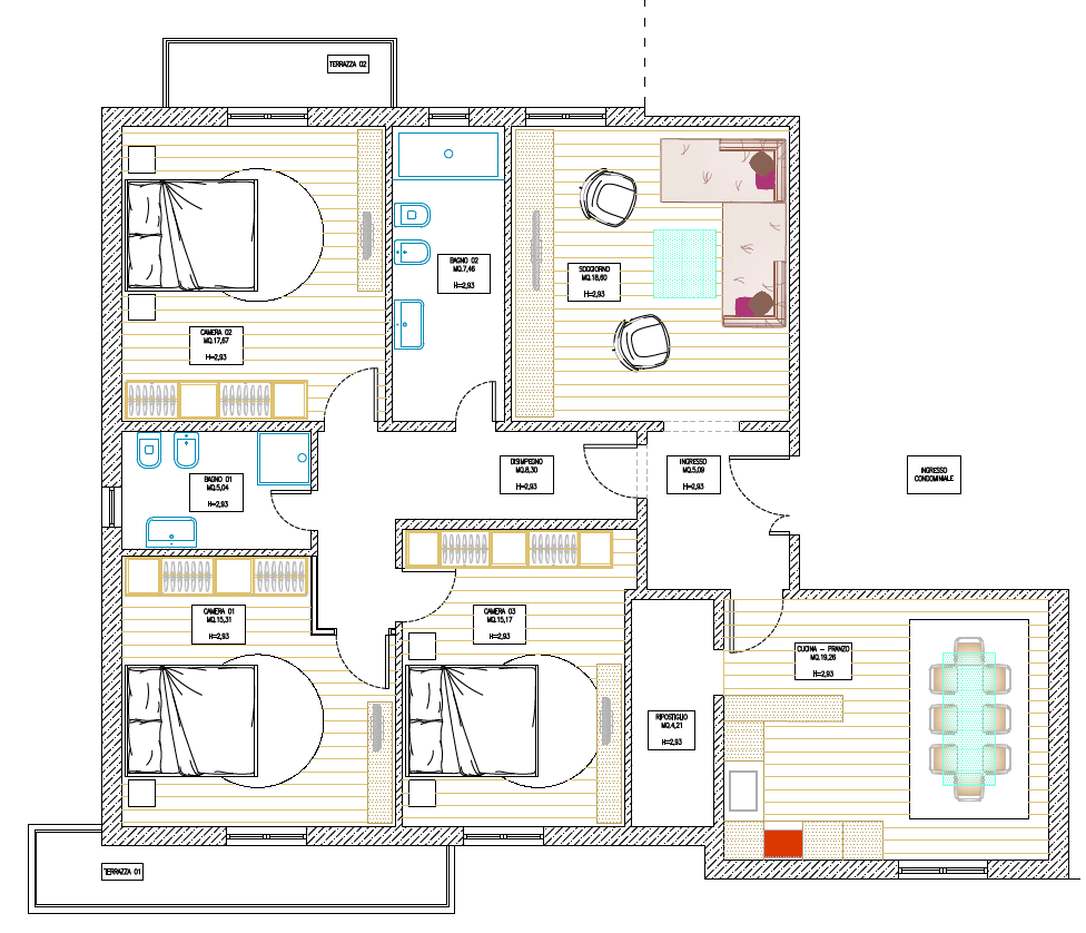 Appartamento in vendita, rif. M/0335 (Planimetria 1/2)