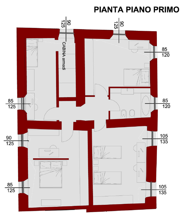 Planimetria 3/4 per rif. S2274