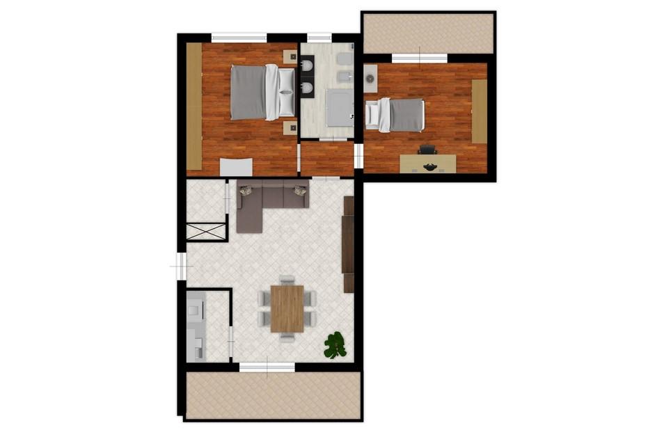 Appartamento in vendita, rif. 5798 (Planimetria 1/2)