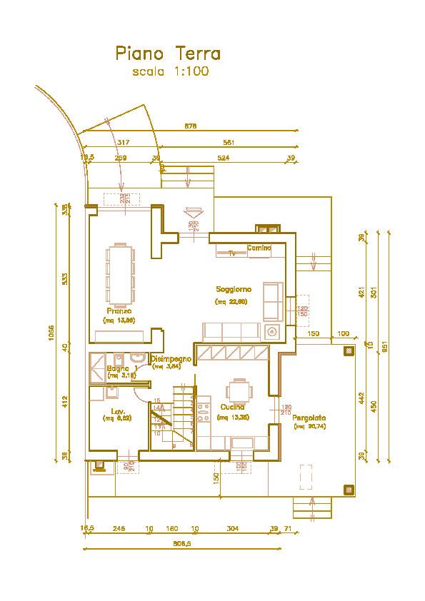 Villetta bifamiliare in vendita, rif. Mi679 (Planimetria 1/4)
