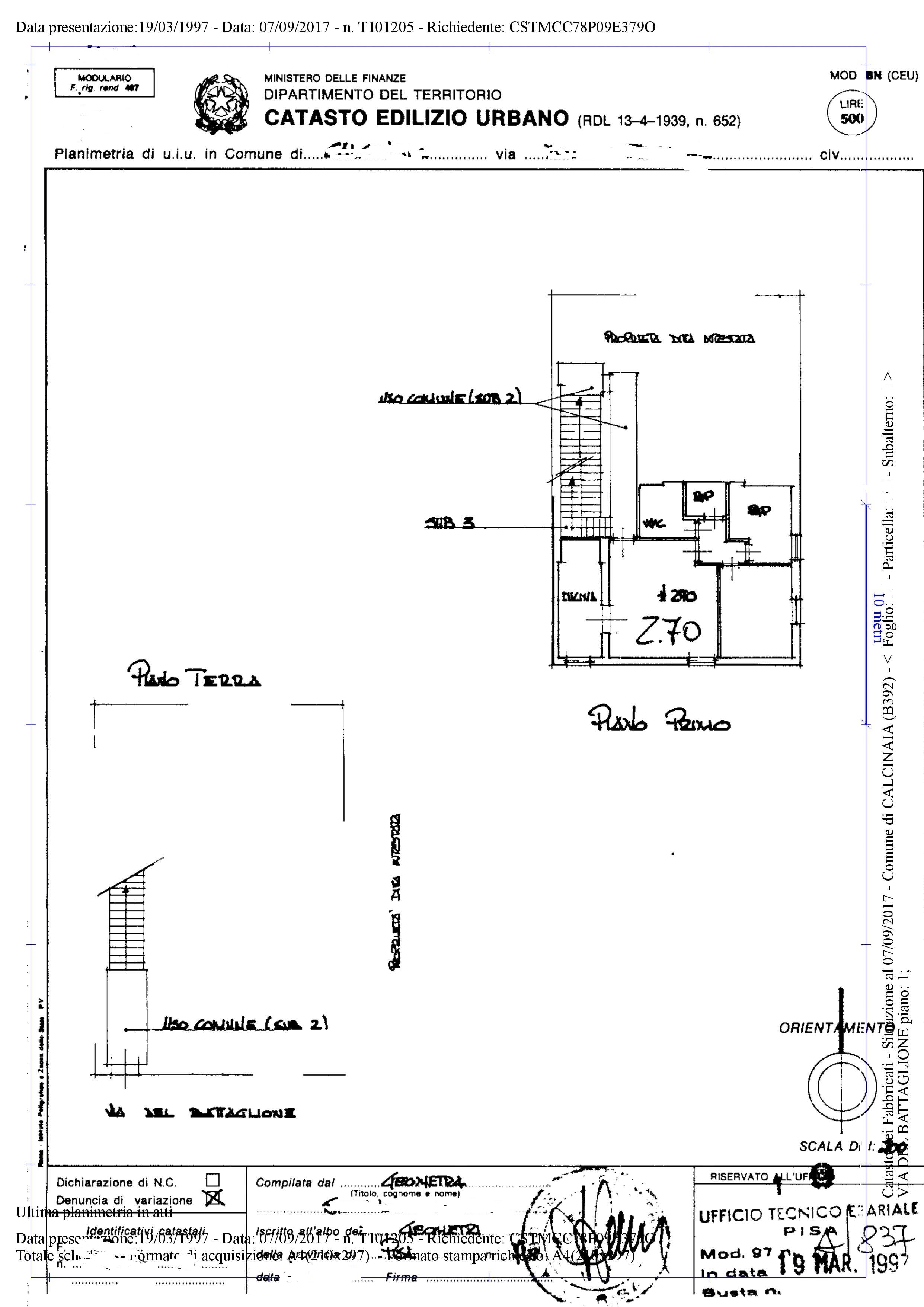 Planimetria 1/1 per rif. AR352