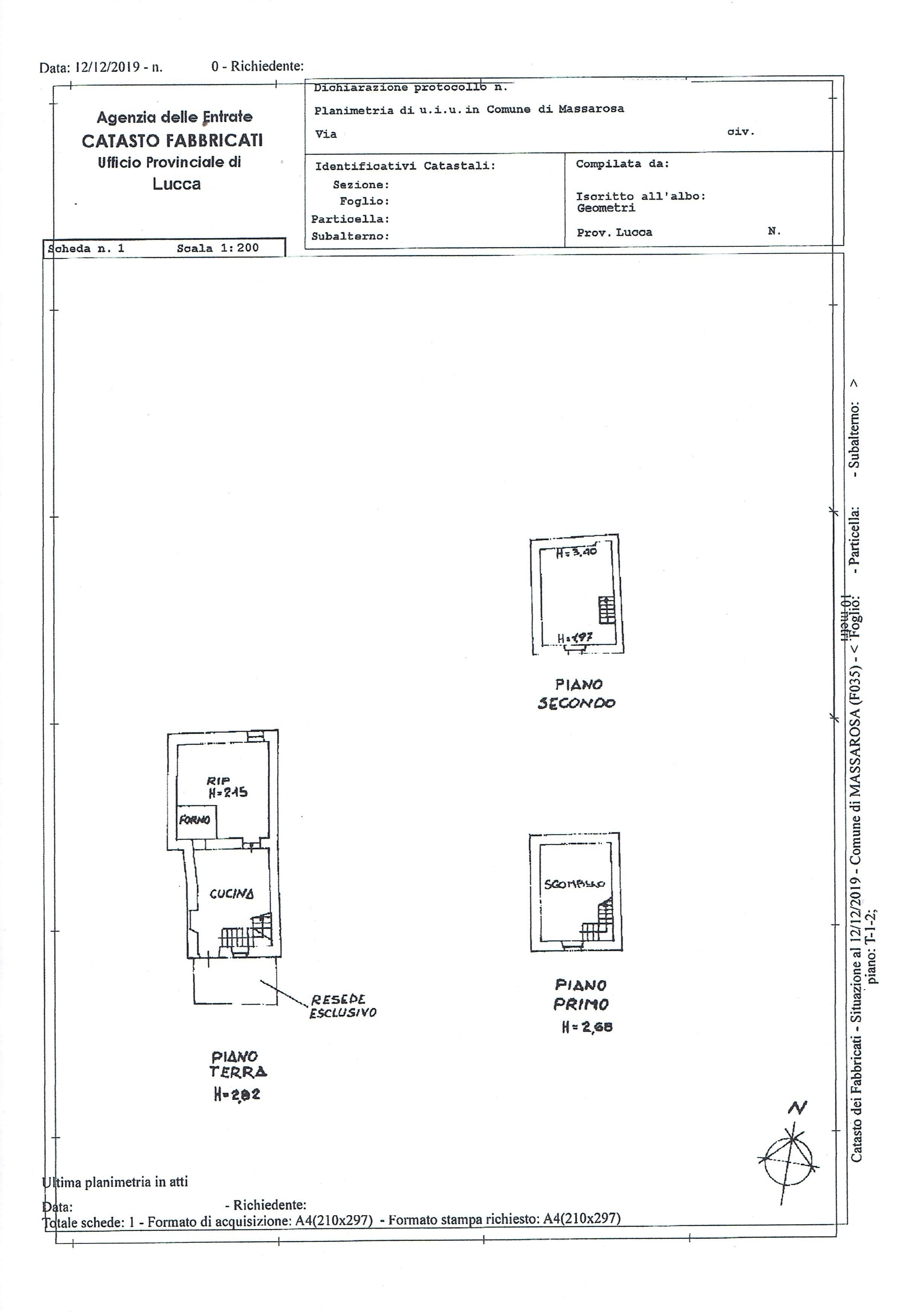 Planimetria 1/1 per rif. 3423M1
