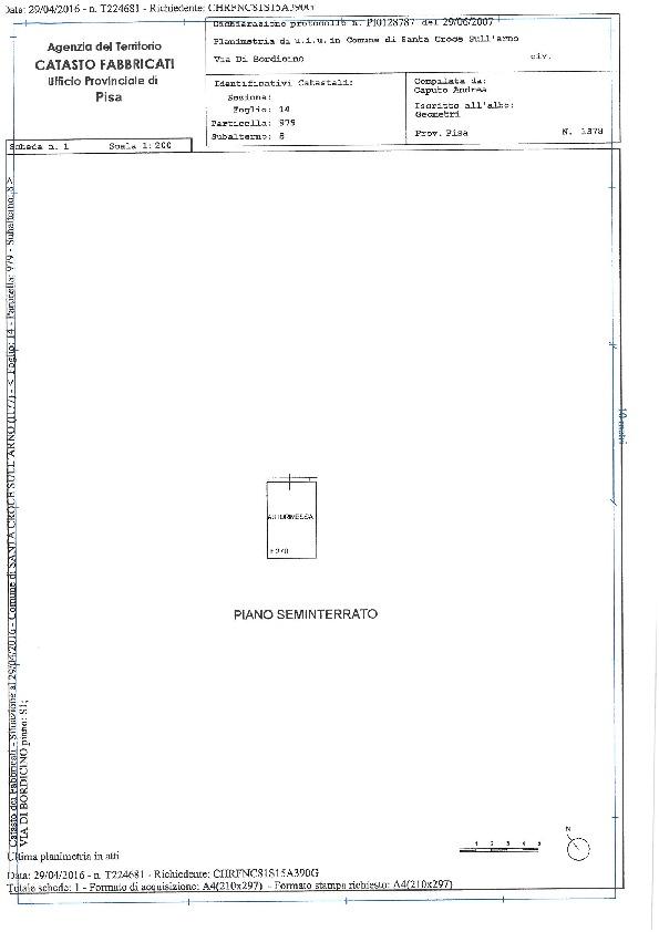 Planimetria 1/2 per rif. 1265 sc
