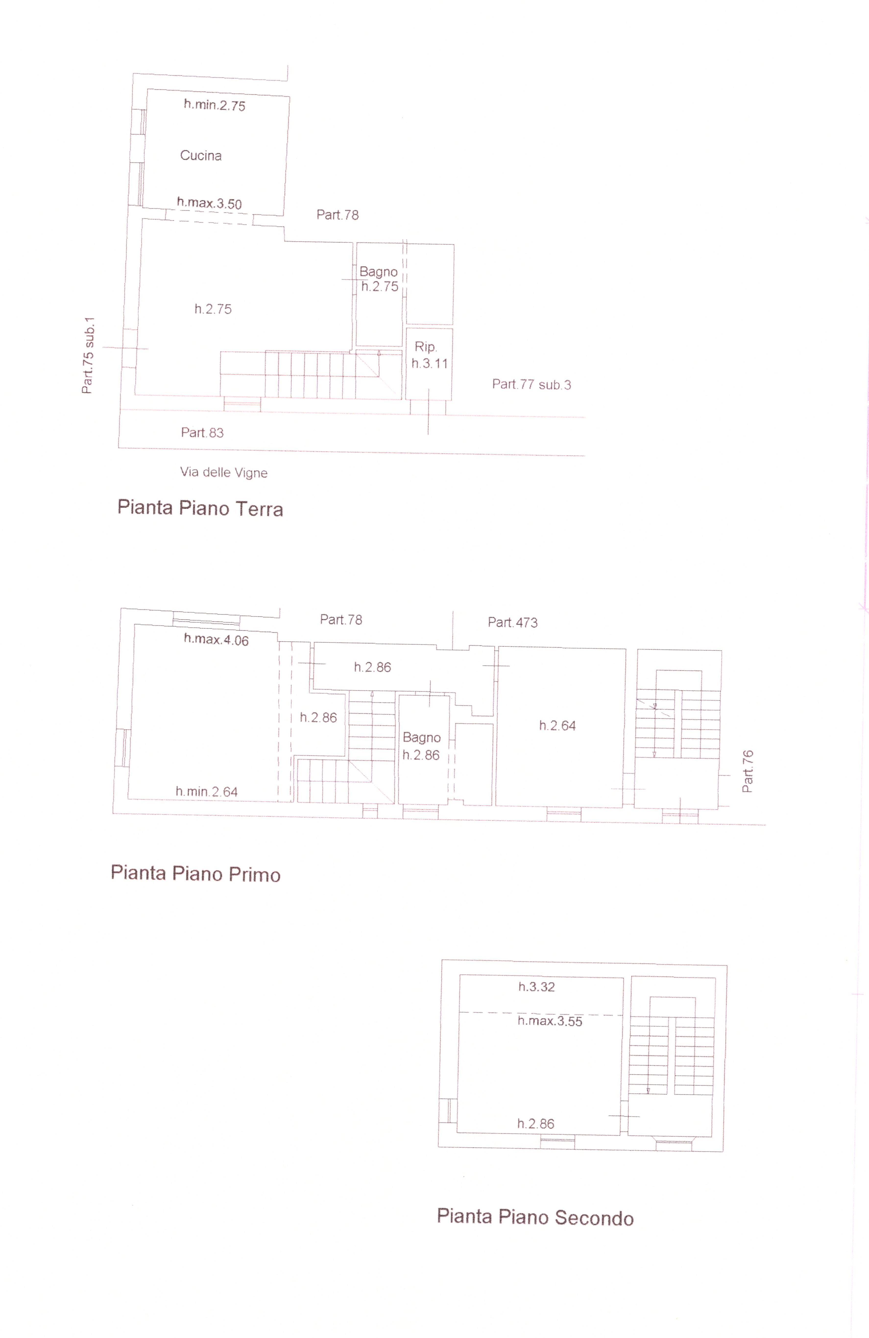 Planimetria 3/4 per rif. A 80