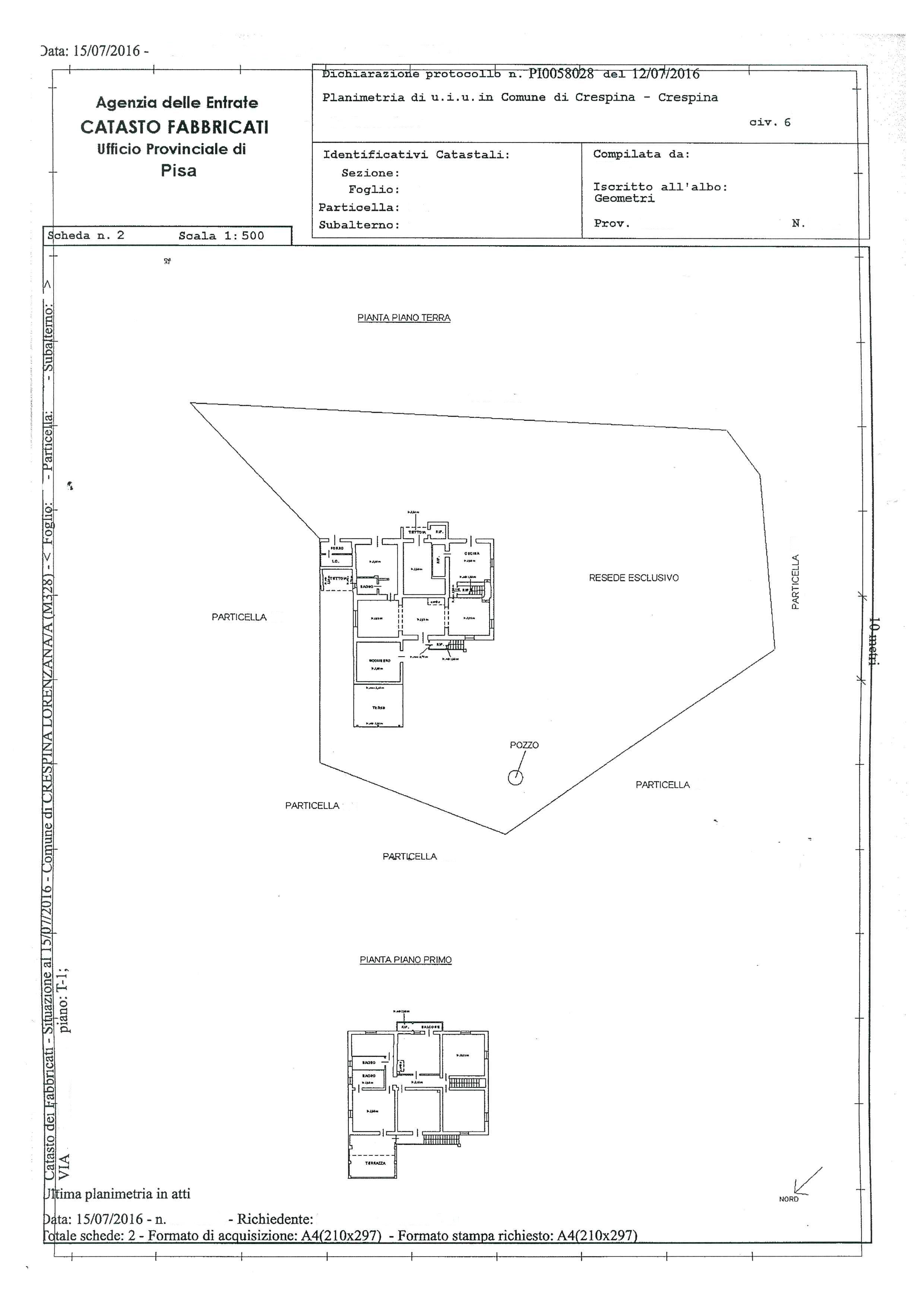 Planimetria 1/1 per rif. 580