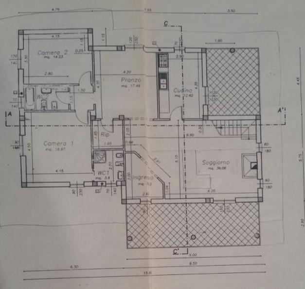 Villa singola in vendita, rif. 300628 (Planimetria 1/2)
