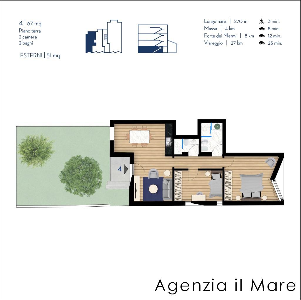 Appartamento in vendita, rif. 513-B (Planimetria 1/2)