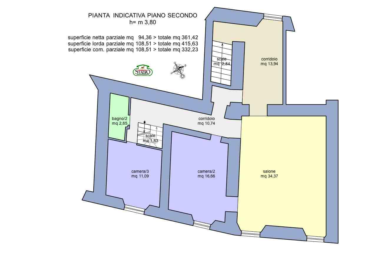 Planimetria 3/4 per rif. C124
