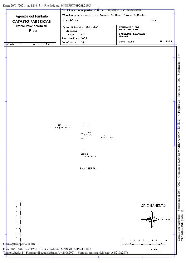 Planimetria 1/2 per rif. 610