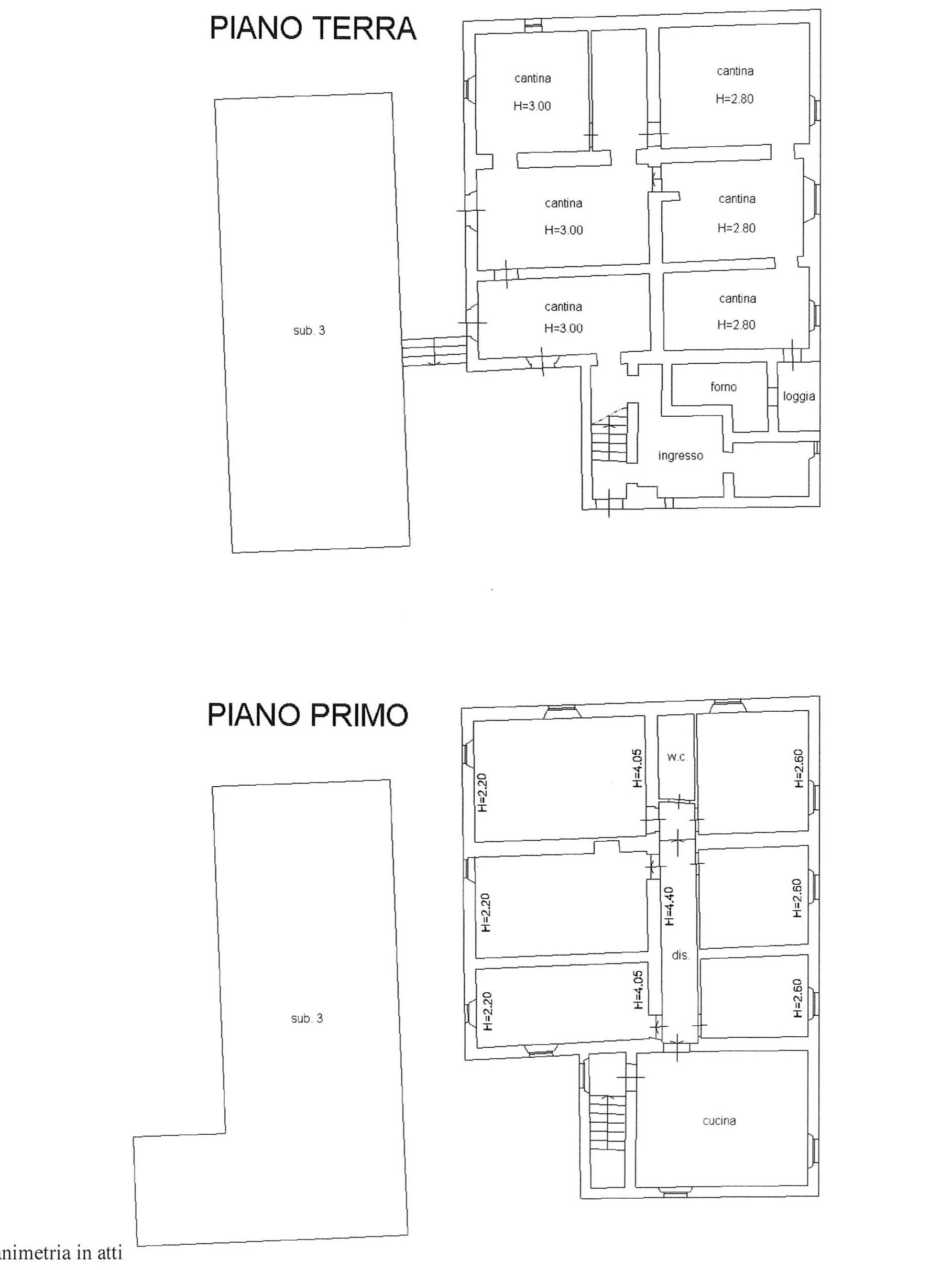 Planimetria 1/3 per rif. 2212